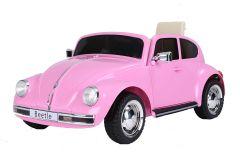 12V VW Beetle Rosa con Licencia Eléctrico para niños
