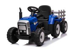 Tractor y trailer Azul 12V Eléctrico para niños