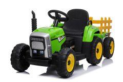 Tractor y trailer Verde 12V Eléctrico para niños