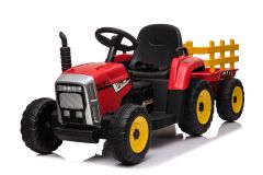 Tractor y trailer Rojo 12V Eléctrico para niños